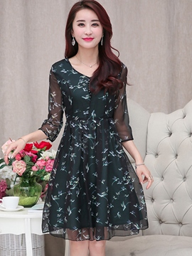 Ericdress Chiffon A-Line Print Casual Dress