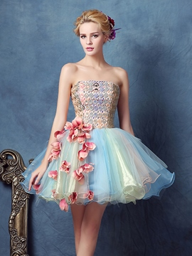 Ericdress Strapless Ball Gown Lace Short Homecoming Dress