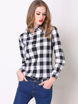 Ericdress Slim Plaid Blouse