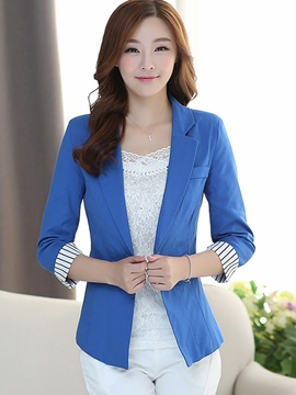 Ericdress Color Block Stripped Blazer