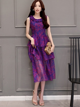 Ericdress Print Round Neck Layered Casual Dress