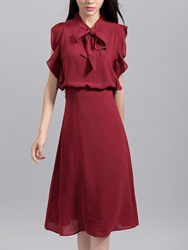 Ericdress Solid Color Bowknot Casual Dress
