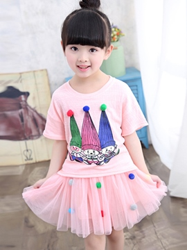 Ericdress Mesh Girls Skirt Outfit