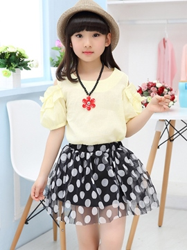 Ericdress The Lantern Sleeve Mesh Pleated Girls Outfits