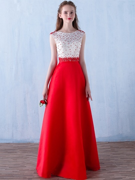 Ericdress A-Line Scoop Cap Sleeves Beading Lace Long Evening Dress
