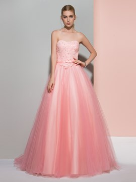 Ericdress A-Line Strapless Beading Lace Sashes Sweep Train Prom Dress