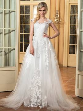 Ericdress Beautiful Appliques A Line Wedding Dress