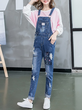 Ericdress Casual Denim Suspender Pants