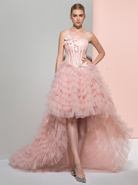 Ericdress Strapless Ball Gown Beading Bowknot Lace Ruffles Tiered Sweep Train Prom Dress