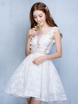 Ericdress A-Line Scoop Cap Sleeves Lace Flowers Asymmetry Homecoming Dress