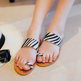 Ericdress Zebra Print Toe Ring Flat Sandals