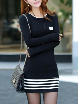 Ericdress Stripe Patchwork Sweater Dress