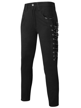 Ericdress Unique Cross Lace-Up Design Slim Casual Men's Pants