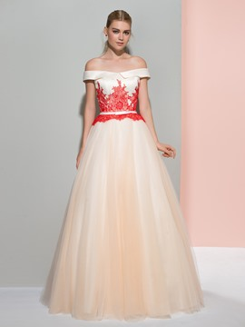 Ericdress A-Line Off-the-Shoulder Cap Sleeves Lace Sashes Evening Dress