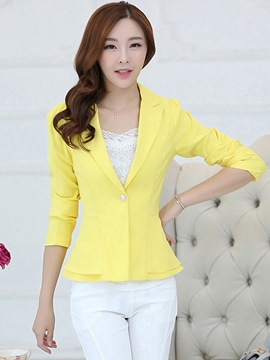 Ericdress Solid Color Slim Polo Blazer