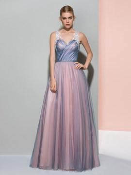 Ericdress A-Line V-Neck Appliques Pleats Floor-Length Evening Dress