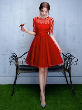 Ericdress A-Line Scoop Half Sleeves Crystal Knee-Length Homecoming Dress