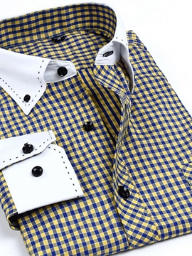 Ericdress Unique Button Down Plaid Men's Dress Shirt