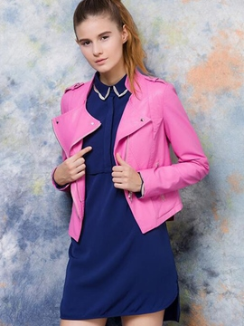 Ericdress Solid Color Asymmetric Slim Jacket