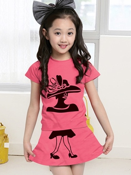 Ericdress Cartoon Print Girls Outfit