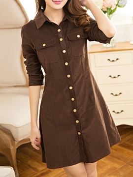 Ericdress Autumn Single Breasted Casual Dress