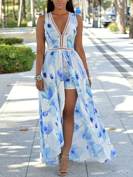 Ericdress Summer Boho V-Neck Print Split Maxi Dress