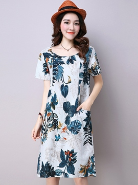 Ericdress Flower Print Round Neck Straight Casual Dress