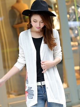 Ericdress Slim Printed Cardigan Knitwear
