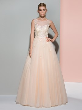 Ericdress A-Line Scoop Sequins Tulle Floor-Length Evening Dress
