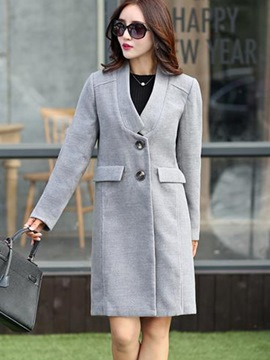 Ericdress Plus Size Collarless Plain Coat