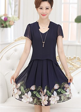 Ericdress Summer Double-Layer Print Casual Dress