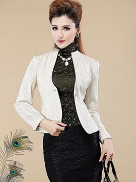 Ericdress Solid Color One-Button Blazer