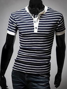 Ericdress Stripe Button Casual Men's T-Shirt