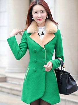 Ericdress Color Block Double-Breasted Slim Coat