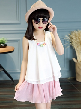 Ericdress Pleated Sleeveless Girls Outfit