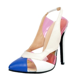 Ericdress Contrast Color Point Toe Stiletto Sandals