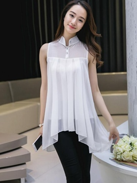 Ericdress Solid Color Irregular Hem Blouse