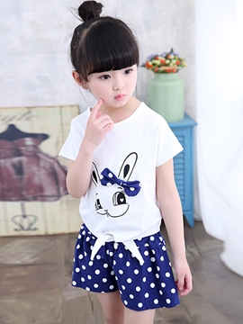 Ericdress Print Short Sleeve Tie Girls Outfits