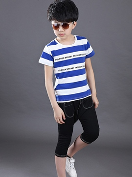 Ericdress Stripe Letter Boys Outfit