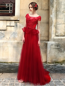 Ericdress Graceful Cap Sleeve Lace Applique Tulle Long Evening Dress