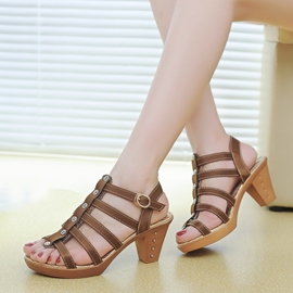 Ericdress Retro Cut Out Chunky Sandals