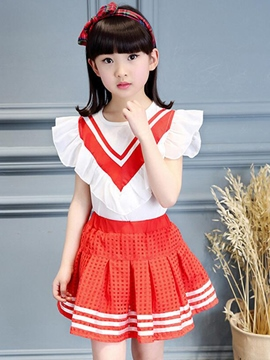 Ericdress Stripe Sleeveless Girls Skirt Outfit