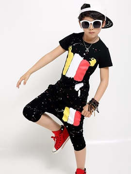 Ericdress Color Block Print Short Sleeve Boys Outfit