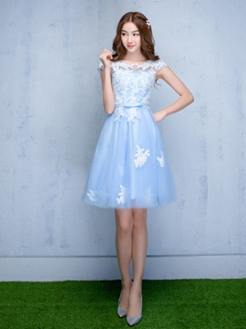 Ericdress A-Line Bateau Cap Sleeves Appliques Bowknot Sashes Homecoming Dress