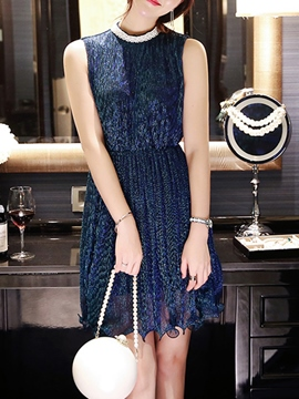 Ericdress Bead Sleeveless Casual Dress