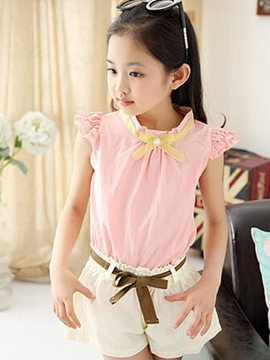 Ericdress Stand Collar Short Sleeve Girls Outfits