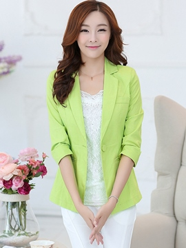 Ericdress Solid Color One-Button Polo Blazer