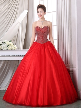 Ericdress Ball Gown Sweetheart Perlen bodenlange Quinceanera Kleid