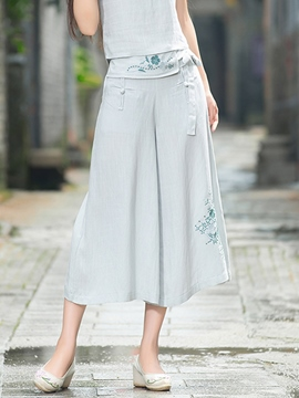 Ericdress Chinese Ethnic Wide Legs Pants