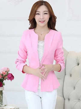 Ericdress Solid Color Slim Wave Cut Blazer